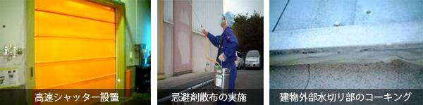 工場建物内への虫の侵入防止